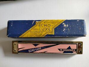 Vintage Hohner Echo-Luxe enamelled tremolo harmonica and box, C
