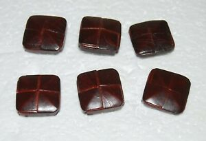 #25 Vintage, Leather and Wood, Metal Shank, Square, Craft, Sewing, Buttons, x6