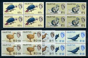 MAURITIUS 1965 DEFINITIVES SG327/331(HIGH VALUES) BIRDS BLOCKS OF 4 MNH