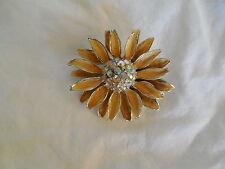 B.S.K gold tone sunflower w/enamel & AB rhinestones brooch