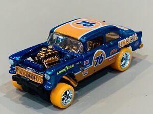 Hot Wheels '55 Chevy Gasser Custom 'Union 76' Spectra Blue Metal Base & RRs
