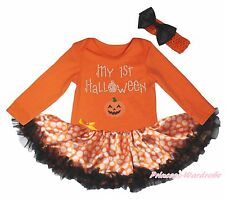 My 1st Halloween Pumpkin Orange L/S Bodysuit Girls Dot Baby Dress Outfit NB-18M