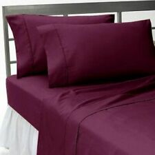 Luxury Soft Best Egyptian Cotton 1000 Thread Count Wine Solid Bed Sheet Set