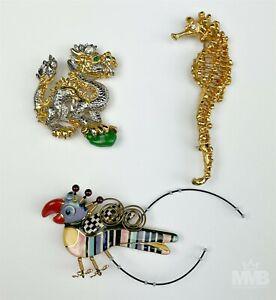 Estate Lot 3 Les Bernard Seahorse Dragon & Liztech ? Parrot Bird Brooch Pin BWA