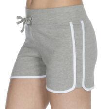 Womens Retro Stripe Shorts 100% Cotton Jersey Contrast Trim Jogging Runner Short