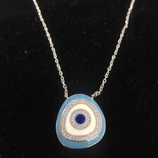 NEW Evil Eye Necklace Sterling Silver Stamped 925 Protection Nazar Luck Blue S/S