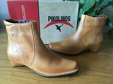 Pikolinos tan leather embroidered detail ankle boots UK 4 EU 37 BNIB RRP £70