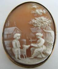 LARGE ANTIQUE VICTORIAN HAND CARVED SHELL SCENIC CAMEO MAN WOMAN GOAT FARM PIN