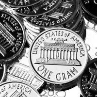 """1 Gram .999 Fine Solid Silver Bullion Mini Art-Coin: """" Lincoln 1 Cent """""""