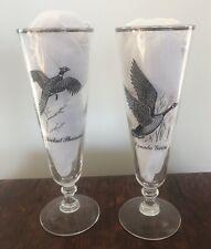 Set Of 2 Silver Rim Glasses Canada Goose / Ring Necked Pheasant