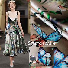 Stretch Seide Satin Stoff Mit Schmetterling Und Blumen Muster Mode Kleiderstoff
