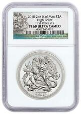 2018 Isle of Man 2 Oz High Relief Silver Angel Piedfort Proof Coin NGC PF69 FR