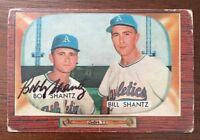 BOBBY SHANTZ 1955 BOWMAN AUTOGRAPHED SIGNED AUTO BASEBALL CARD 139 A'S
