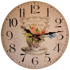 Reloj De Pared Vintage Shabby Chic Estilo Francés Taza de Té Belle Jardinera Pared-Nuevo