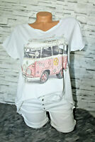 Italy New Collection T-Shirt weiß Pink rosa Bulli Strass Gr. 36 38 40 42 blogger