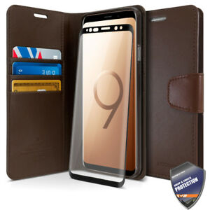 Flip leather wallet case cover W Glass Screen Protector for Galaxy S9 S10 Note 9