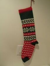 "Hand Knit Christmas Stocking -All Wool Vintage Design -""Snowflake"""