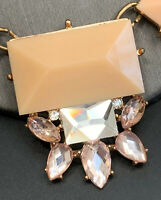 "Vintage  Statement Necklace Peach Pink Clear Lucite & Glass Chunky 18"" Long"