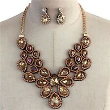 Statement Brown Faceted Glass Tear Shape Bead Rhinstone Flower Necklace earing