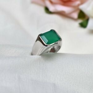 Natural Green Onyx Gemstone with 925 Sterling Silver Ring for Men's EG1413