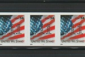 """US EFO, ERROR Stamps: #3550 Flag. """"911"""" perfin! PS5 #1111, PNC. MNH"""