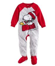 NWT Peanuts Snoopy & Woodstock Sledding Microfleece Footed Pajamas Size 24 mos.