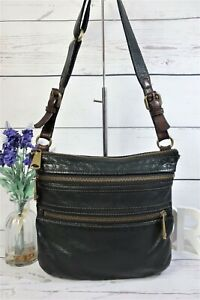 "FOSSIL ""Explorer"" Crossbody Messenger Bag Medium Black Leather ~ Good Condition"