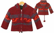 Kids Cardigan Dark Red Size 104/110, 100% Sheep Wool + Fleece Xxl Hood