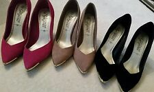New Look pink black real genuine suede court shoes heels sz 5 £10 each
