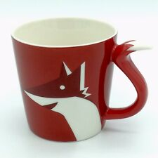 Starbucks Red Maroon Fox Coffee Mug Tail Handle 2012 Holiday Bone China 8 oz