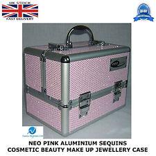 Neo Pink De Lentejuelas Profesional Caja de Aluminio de belleza Cosméticos de maquillaje caso fuerte
