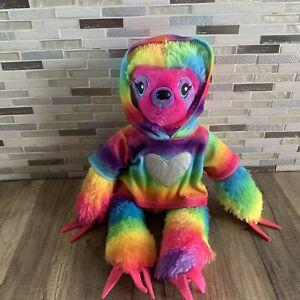 "Build A Bear Sloth Rainbow Plush Sticky Pad Hands Feet BABW With Hoodie 18"" tall"
