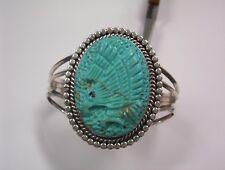 "Sterling Silver Carved Turquoise Eagle Cuff Bracelet*6 3/4"" inside measurement"