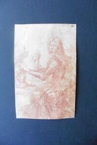 FRENCH SCHOOL 17thC - SUPERB PORTRAIT ARISTOCRAT ATTR. RIGAUD - RED CHALK