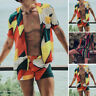 2 PCS Men's Hawaiian Beach Suit Printed Shorts + Shirts Short Party Fancy Set UK