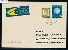 61829) LH FF Düsseldorf-hamburgo 1.4.65, mapa días sello...