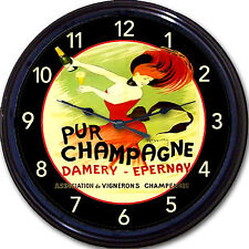 Pur Champagne Epernay Paris France French Vintage Ad Poster Wall Clock Damery