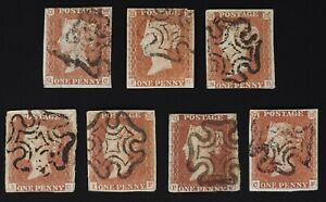 Penny Red SG#7 complete set of the 7 'black plate' printings SG£1600-see descrip