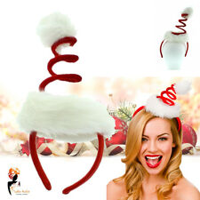 Santa Hat Headband White Spiral Mini Christmas Party Fancy Costume Accessory
