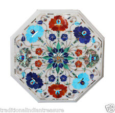 """12"""" White Marble Marquetry Top Coffee Table Turquoise Pauashell Lapis Inlay Art"""