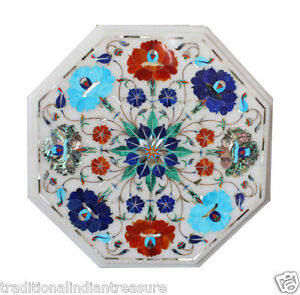 "12"" White Marble Marquetry Top Coffee Table Turquoise Pauashell Lapis Inlay Art"
