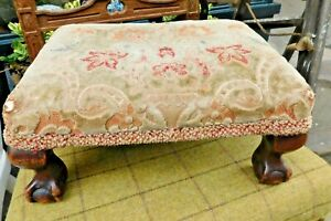 Antique Footstool with Ball and Claw Feet / Fabric Top