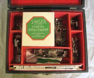 Vintage 1930s Singer Attachments Box 26 Attachments with Mint Pinking + Bonus