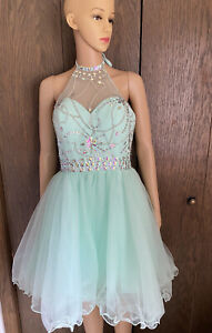 Museover Wedding Bridesmaid dress sz 10 Mint Green Halter tie Beads Sequin bodic