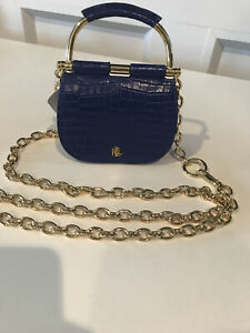 Lauren Ralph Lauren Blue Leather Pouch Belt Bag Crossbody Gold Chain
