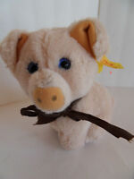 Steiff pig with button flag  stuffed animal made in Germany 1489