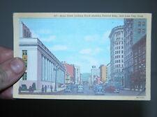 Vintage Postcard Main Street SLC Salt Lake City Utah 1947 postmark cars