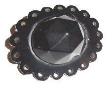 Rare Victorian  Large Whitby Jet Carved  Brooch