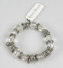 White House Black Market WH6051BR Silver-Tone Faceted Crystal Stretch Bracelet