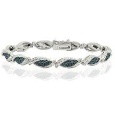 Blue Diamond Accent Twist Tennis Bracelet